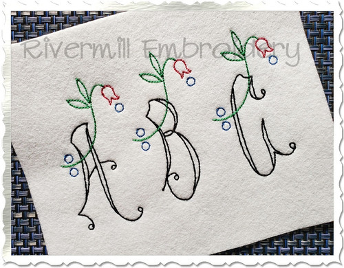 Vintage Flower Alphabet Machine Embroidery Font