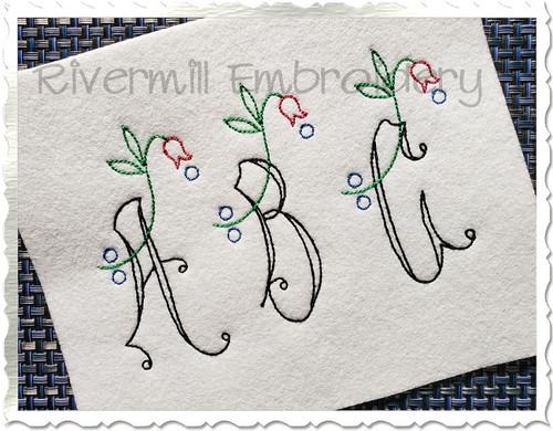 Vintage Flower Alphabet Machine Embroidery Font