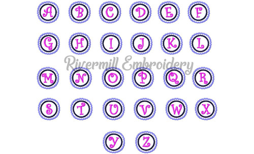 Mini Scalloped Circle Monogram Machine Embroidery Font Alphabet