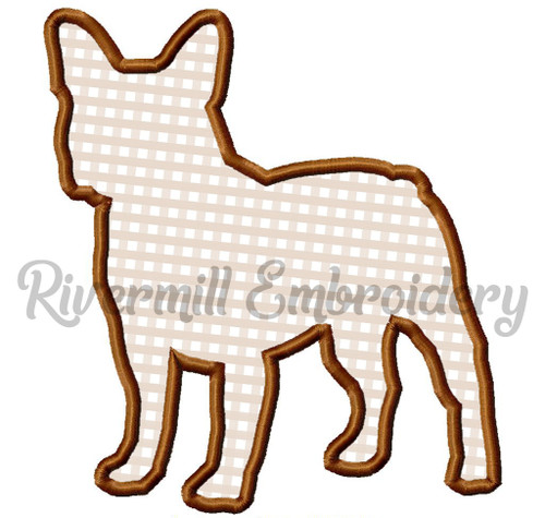 Applique French Bulldog Silhouette Machine Embroidery Design