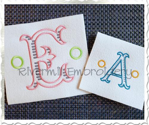 Milton Monogram Machine Embroidery Font Alphabet