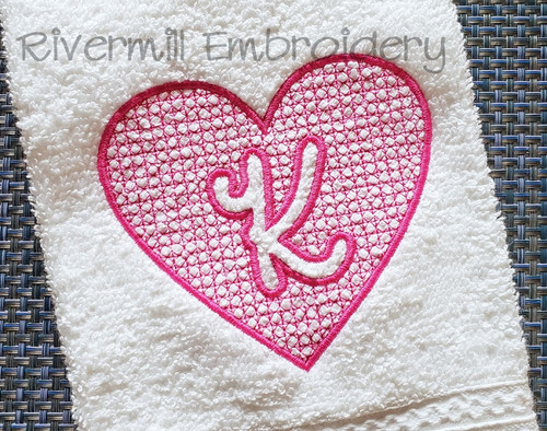 4x4 Size Heart Shaped Embossed Monogram Machine Embroidery Alphabet