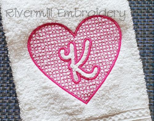 4x4 Size Heart Shaped Embossed Monogram Machine Embroidery Alphabet