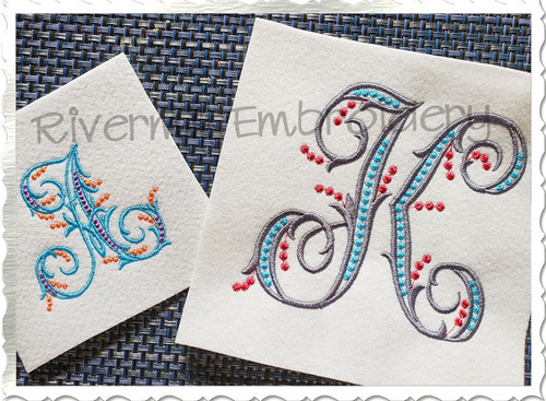 Margaret Monogram Machine Embroidery Font Alphabet