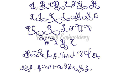 "1 1/4"" Size ONLY - Samantha Script Alternate Letters (Set 1) Machine Embroidery Font Alphabet"