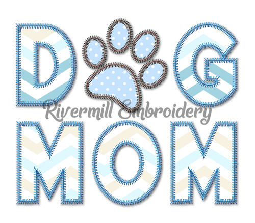Zig Zag Applique Dog Mom Machine Embroidery Design