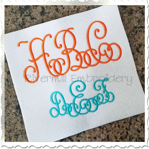 Intertwined Monogram Machine Embroidery Font Alphabet
