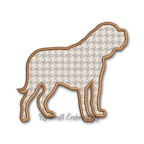 Applique Dogue De Bordeaux Silhouette Machine Embroidery Design