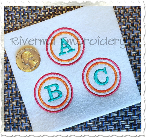 Small Double Circle Initial Monogram Machine Embroidery Font