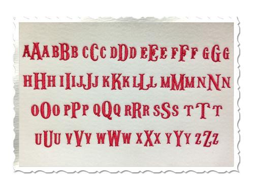 "Small Fish Tail Monogram Machine Embroidery Font - 3/4"" & 1/2"""