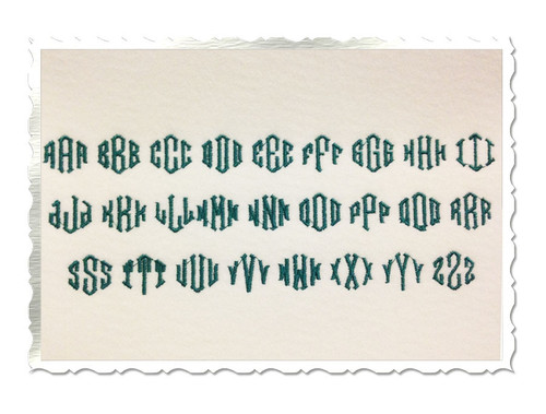 Small Point 3 Letter Monogram Machine Embroidery Font - 3/4""