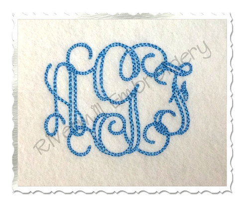 2 Inch Size ONLY Bean Stitch Intertwined Monogram Machine Embroidery Font