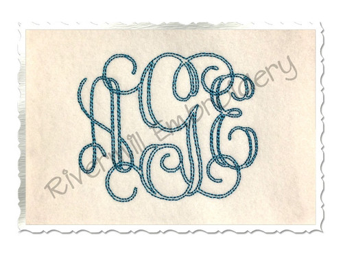 3 Inch Size ONLY Bean Stitch Intertwined Monogram Machine Embroidery Font