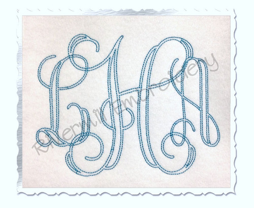 5 Inch Size ONLY Bean Stitch Intertwined Monogram Machine Embroidery Font