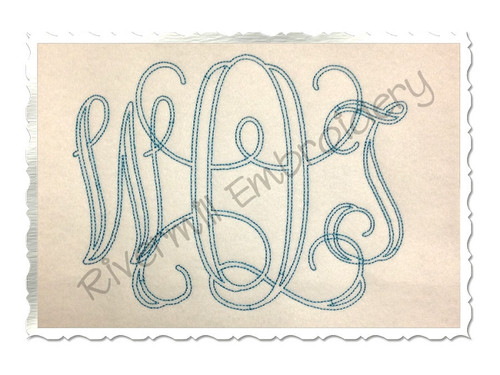 6 Inch Size ONLY Bean Stitch Intertwined Monogram Machine Embroidery Font