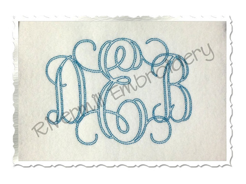 4 Inch Size ONLY Bean Stitch Interlocking Monogram Machine Embroidery Font
