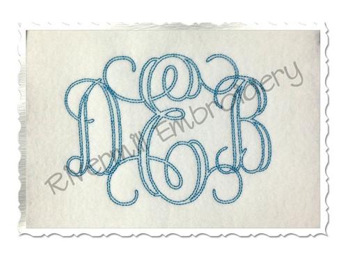 4 Inch Size ONLY Bean Stitch Interlocking Monogram Machine Embroidery Font
