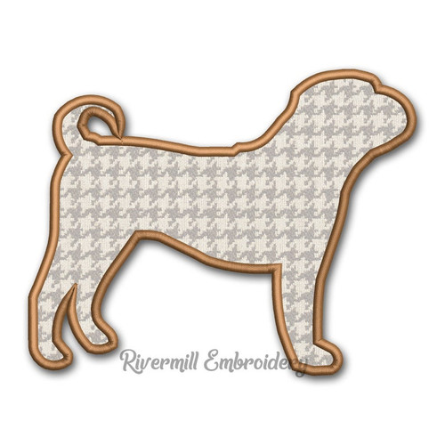 Applique Sharpei Dog Silhouette Machine Embroidery Design