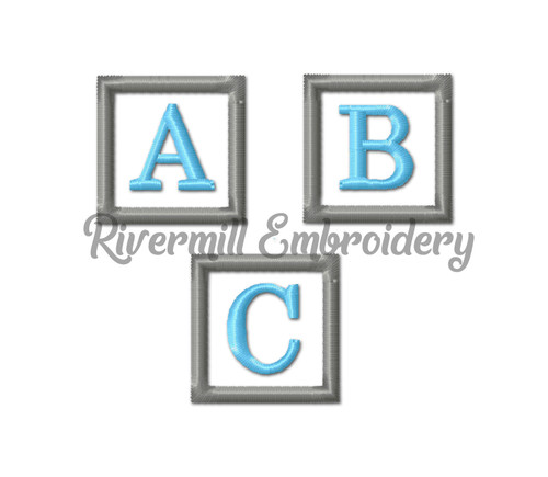 Small Square Initial Monogram Machine Embroidery Font