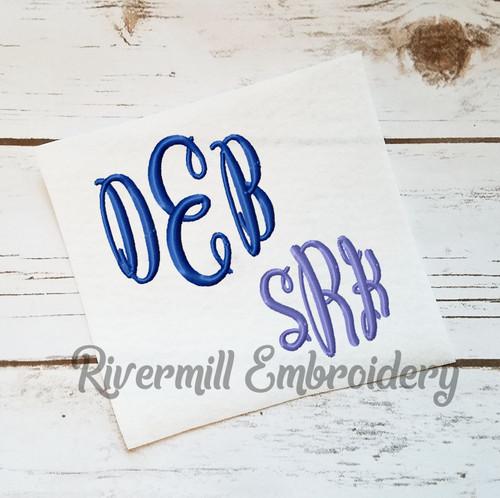 Small Classic Script 3 Letter Monogram Machine Embroidery Font