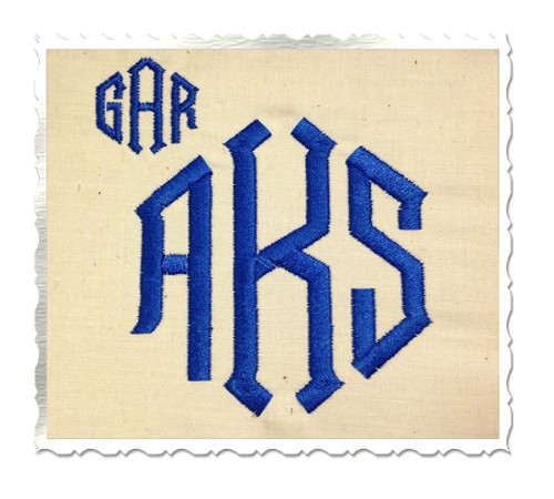 Point 3 Letter Monogram Machine Embroidery Font
