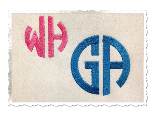 Round 2 Letter Monogram Machine Embroidery Font