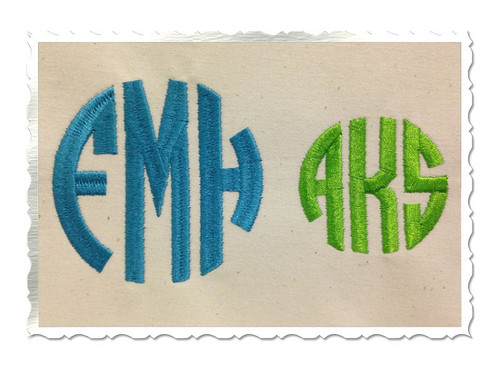 Round 3 Letter Monogram Machine Embroidery Font