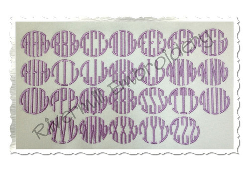 "1 1/2"" Size ONLY - Seal 3 Letter Monogram Machine Embroidery Font"