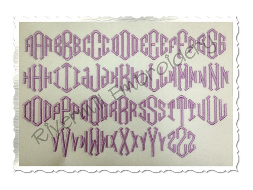 "1 1/2"" Size ONLY - Point 3 Letter Monogram Machine Embroidery Font"