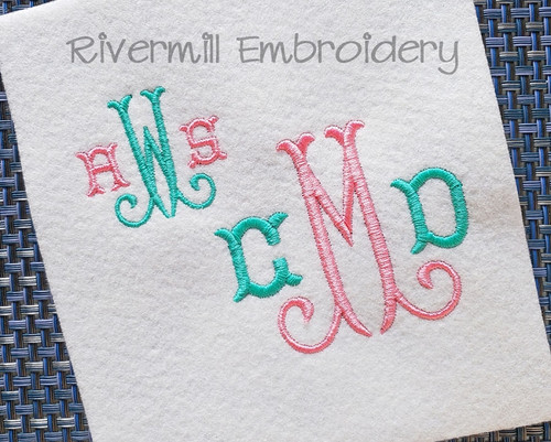 Tuscan Monogram Machine Embroidery Font Alphabet
