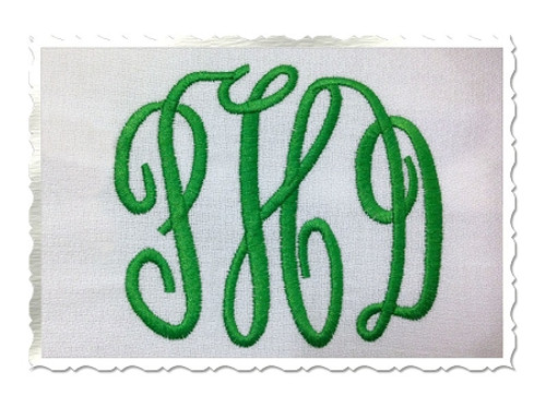 Classic 3 Letter Monogram Machine Embroidery Font