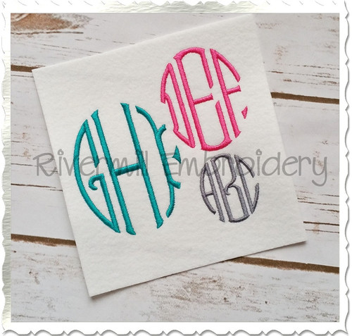Oval 3 Letter Monogram Machine Embroidery Font