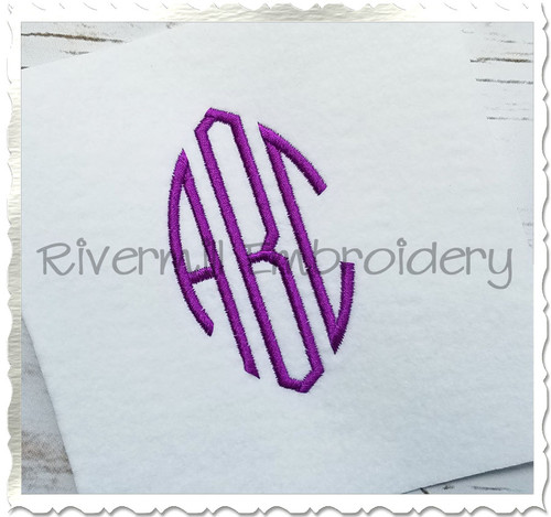 Oval 3 Letter Monogram (Style #2) Machine Embroidery Font