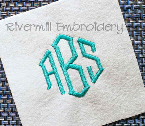 "2 1/2"" Size ONLY - Point 3 Letter Monogram Machine Embroidery Font"