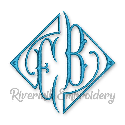 Large Antique Style Two Letter Monogram Machine Embroidery Font