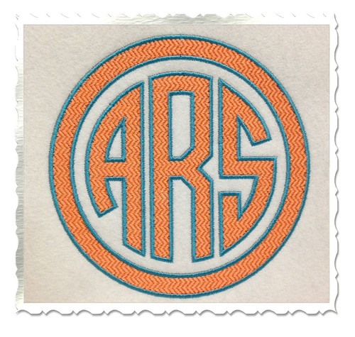 Textured Round 3 Letter Monogram with Outlines Machine Embroidery Font