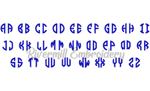 Round 2 Letter Monogram Machine Embroidery Font - 5 Inch Size Only