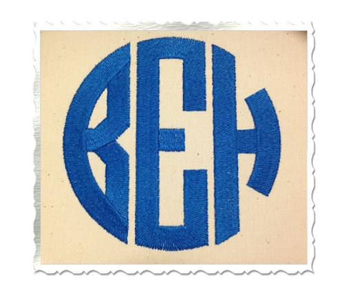 4 Inch Size ONLY Round 3 Letter Monogram Machine Embroidery Font