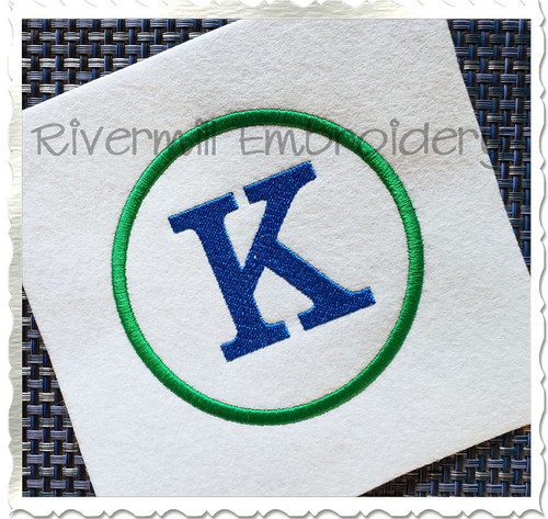 Circle Outline Monogram Machine Embroidery Font