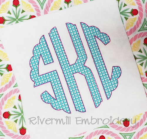 Vintage Style Scalloped Circle 3 Letter Monogram Machine Embroidery Font
