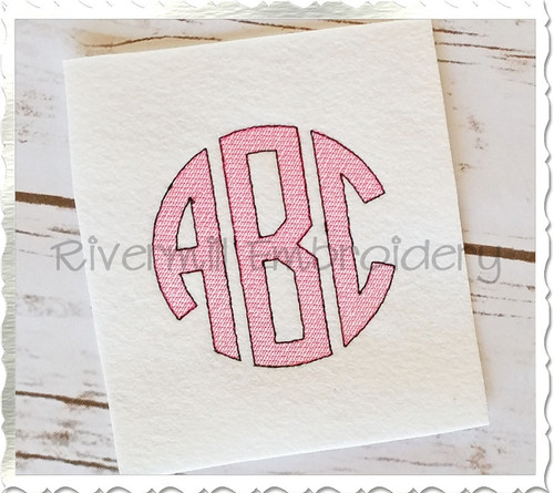 Vintage Style Round 3 Letter Monogram Machine Embroidery Font