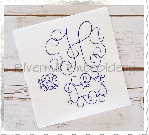 Large Vintage Intertwined Machine Embroidery Alphabet