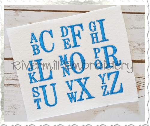 "1 1/2"" Size Only - Boys Stacked Monogram Machine Embroidery Font"