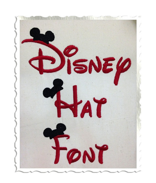 Disney Style Mouse Ear Hat Machine Embroidery Font Alphabet