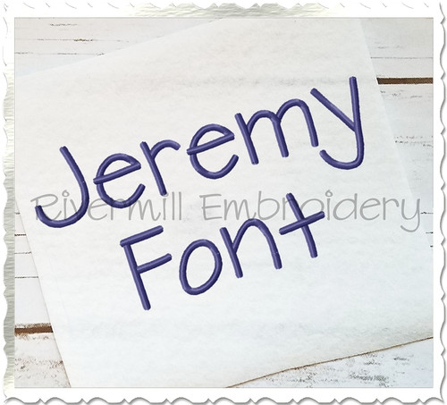 Jeremy Machine Embroidery Font Alphabet