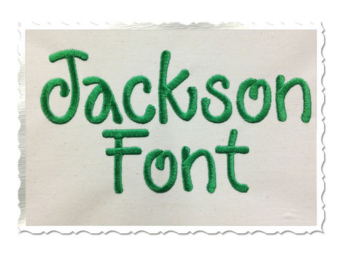 Jackson Machine Embroidery Font Alphabet