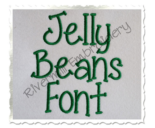 Jelly Beans Machine Embroidery Font Alphabet