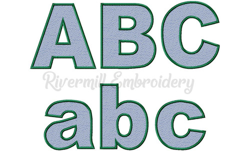 Large Sketch Style Block Machine Embroidery Font Alphabet
