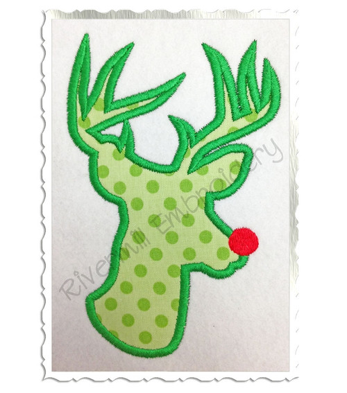 Applique Red Nosed Reindeer Machine Embroidery Design