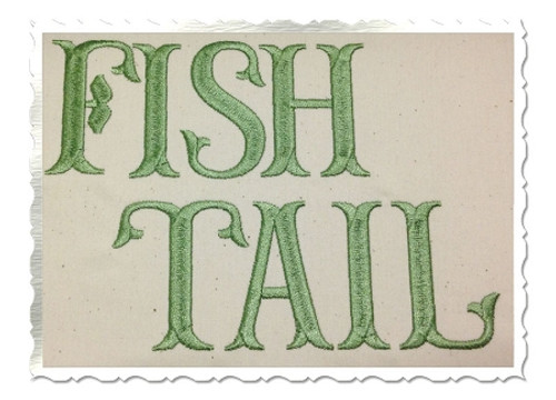 Fish Tail Machine Embroidery Font Alphabet